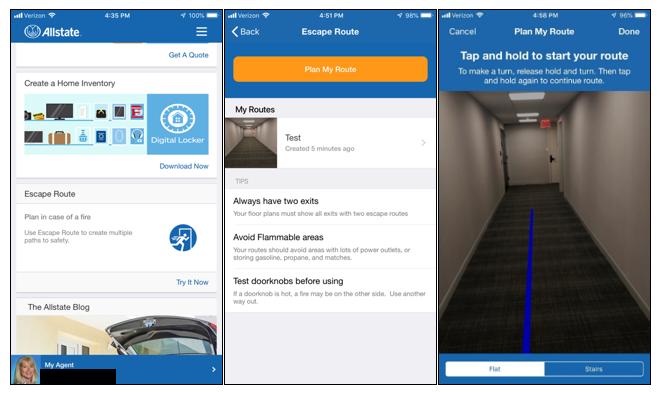 Allstate Mobile App – New Escape Route Screens