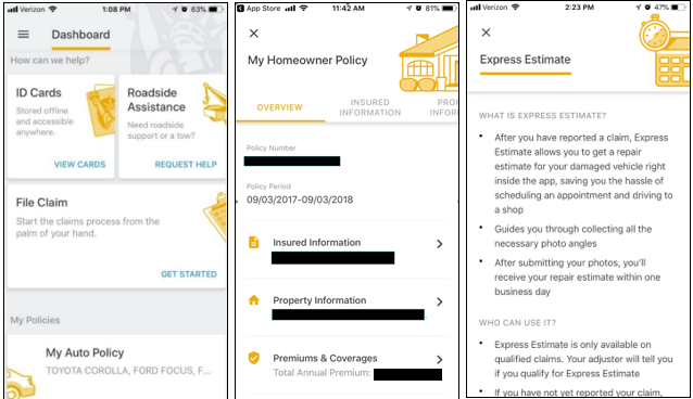 Liberty Mutual Dashboard, My Homeowner Policy and Express Estimate Screens