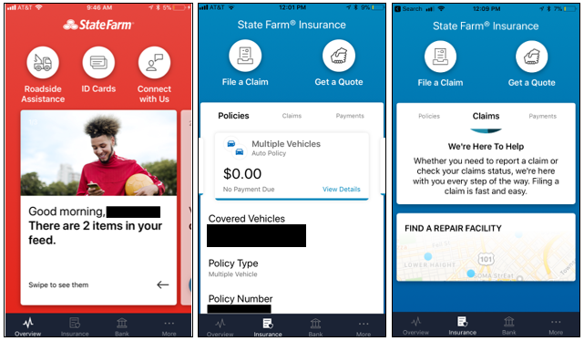 State Farm Overview, Policies and Claims Screens