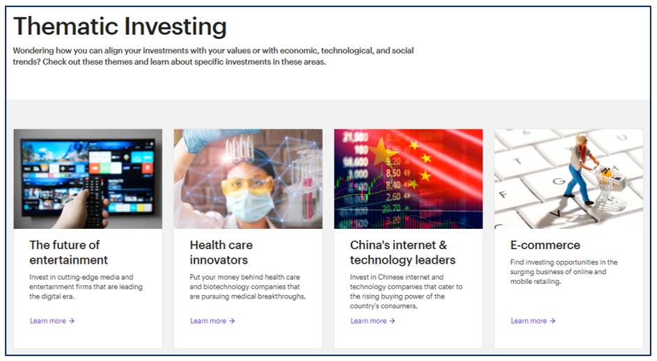 E*TRADE ESG SRI investment offerings