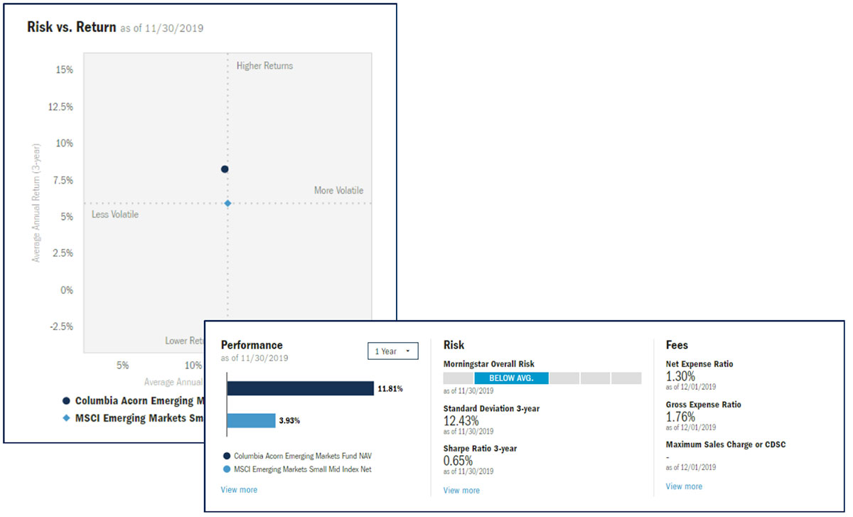 Columbia Threadneedle Risk versus Return Graph and Overview Snapshot fund research resources
