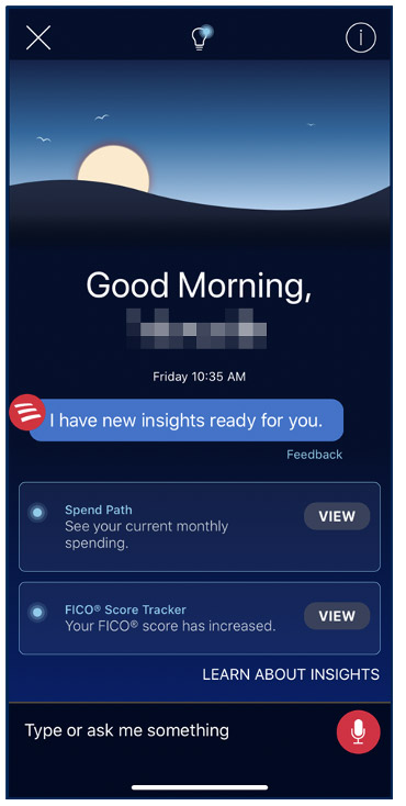 Bank of America mobile app Erica AI virtual assistant