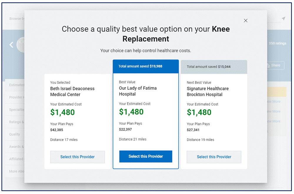 Health insurance cost estimator from BCBS Illinois