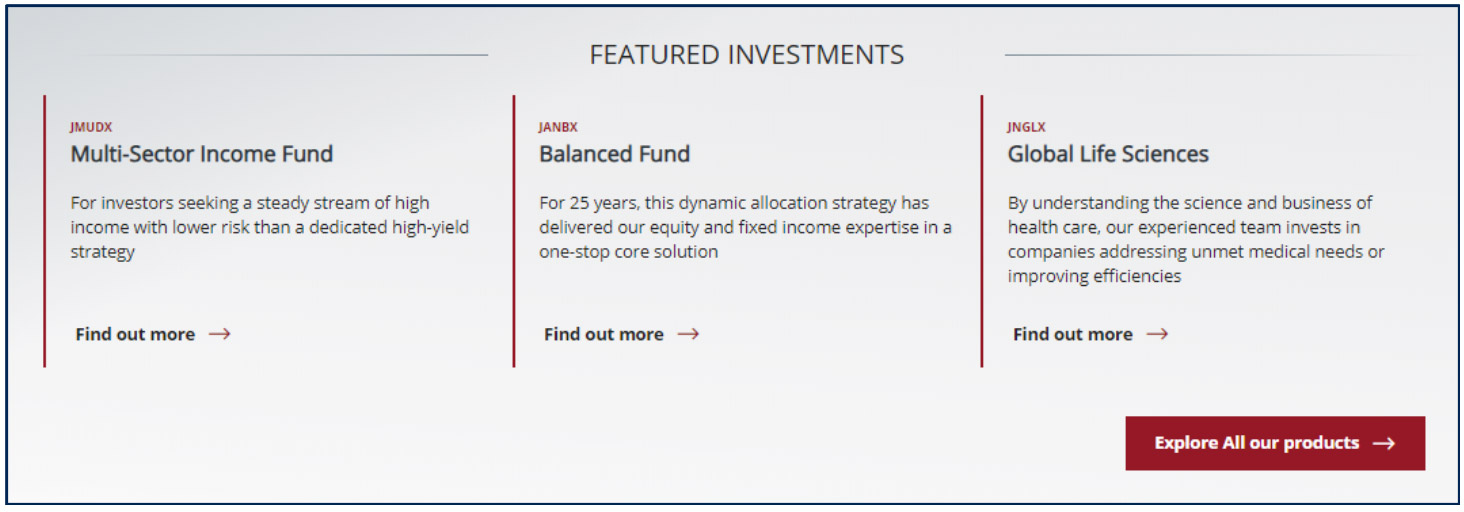 Janus Henderson Homepage Featured Investments unique product promotion