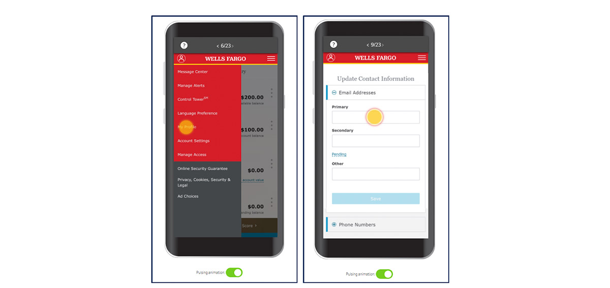 Wells Fargo mobile app interactive demo