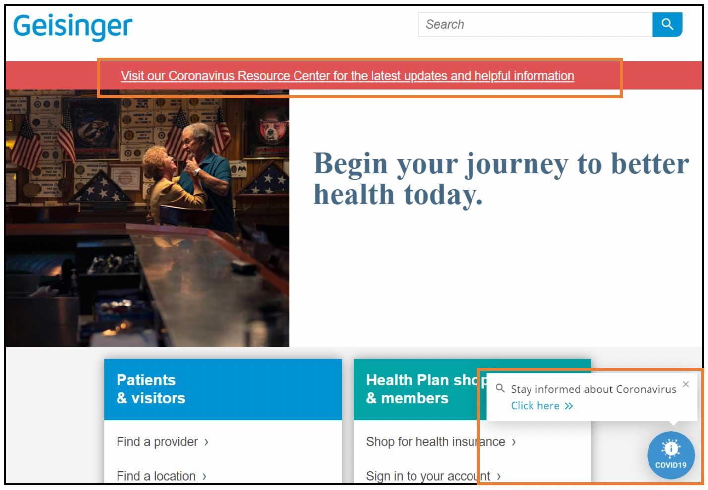 March 2020 Geisinger Homepage