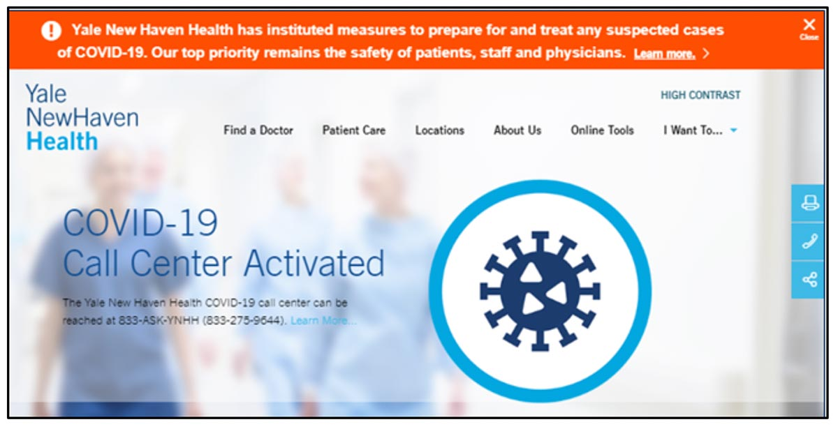 March 2020 Yale New Haven Health Homepage Alert