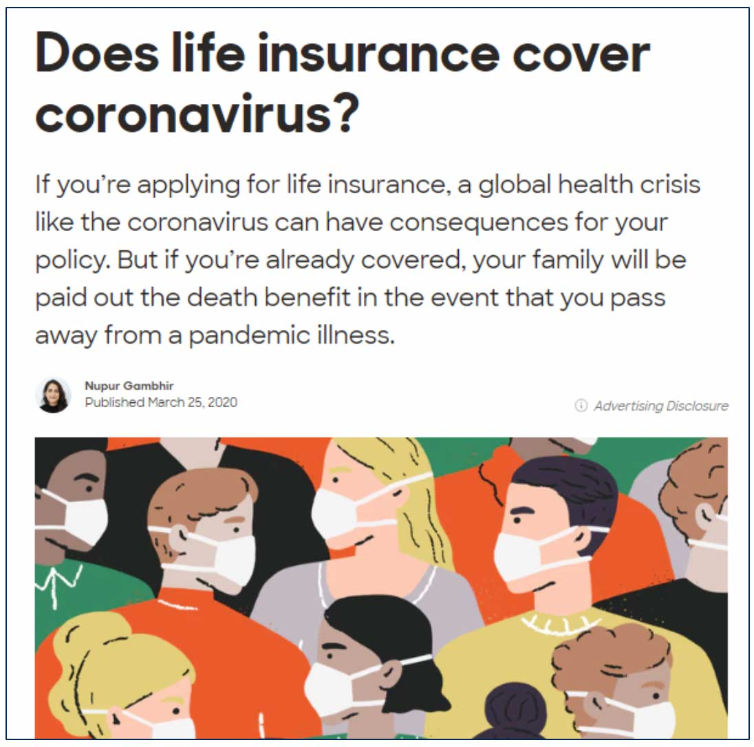 Policygenius New Public Site Does Life Insurance Cover Coronavirus Page
