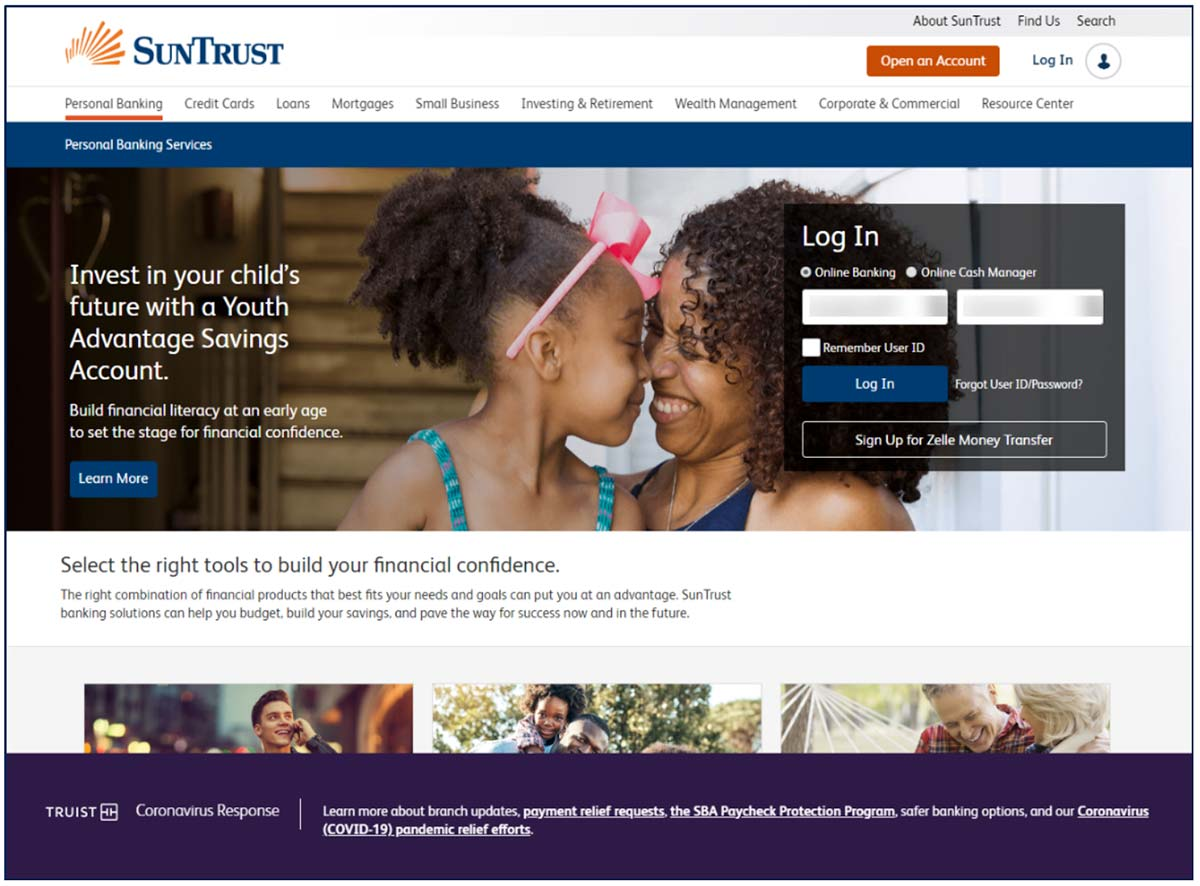 SunTrust Public Site Anchored Coronavirus Screenshot