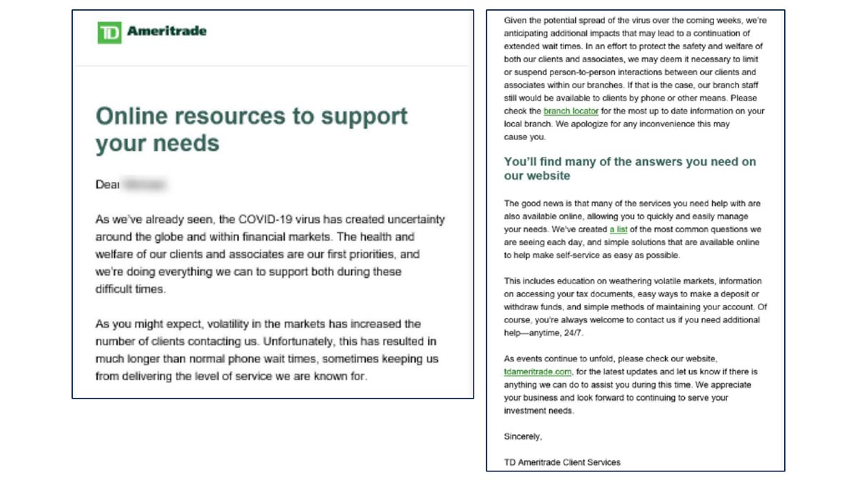 TD Ameritrade Online Resources Email