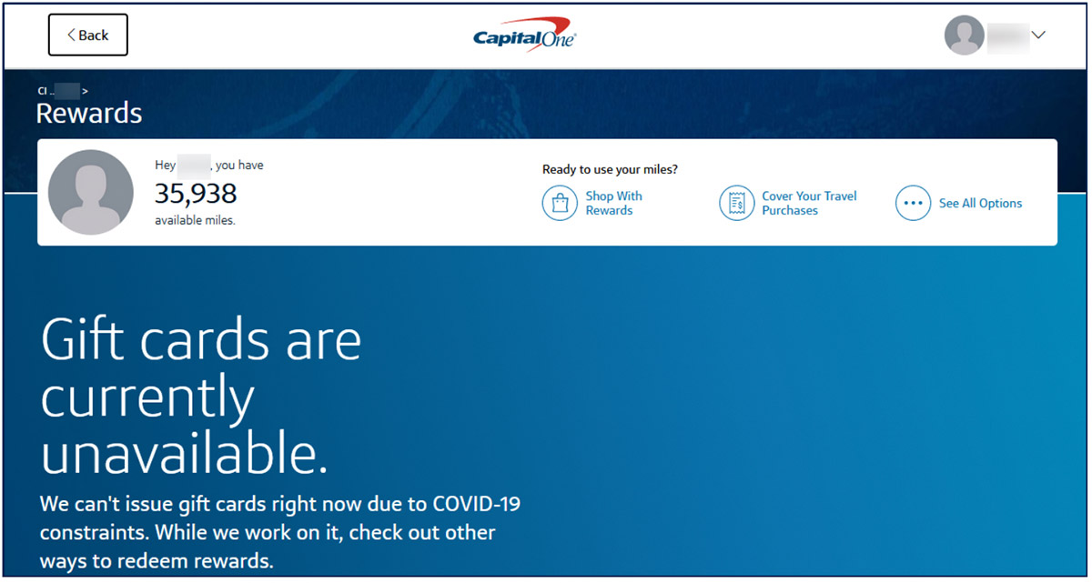 Capital One Authenticated Site Rewards Overview Page