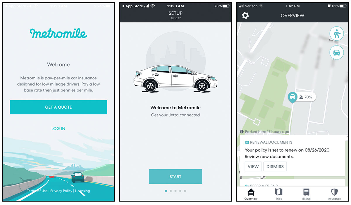 Usage-Based Insurer Metromile Mobile App Experience