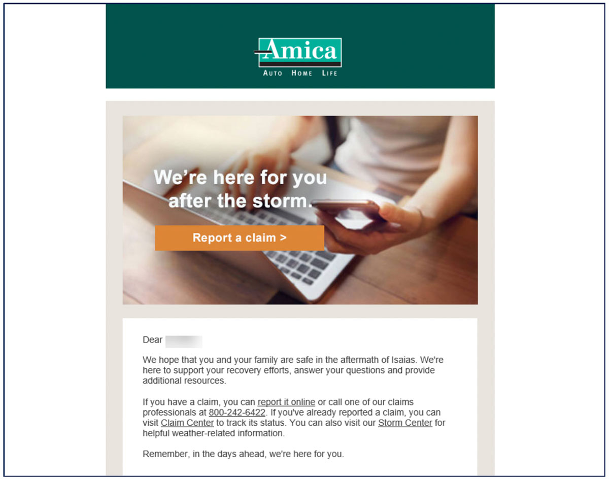 Amica Policyholder Email Screenshot