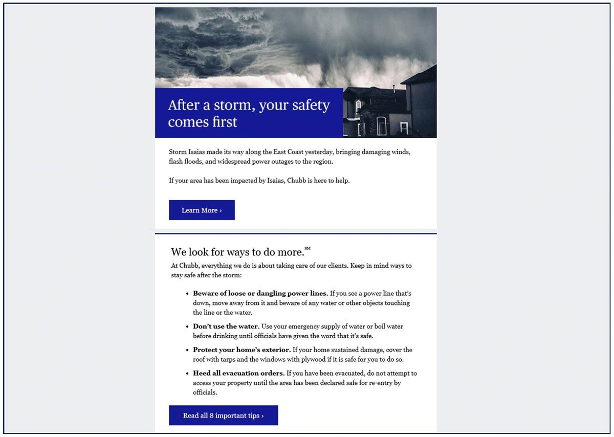 Chubb Policyholder Email Screenshot