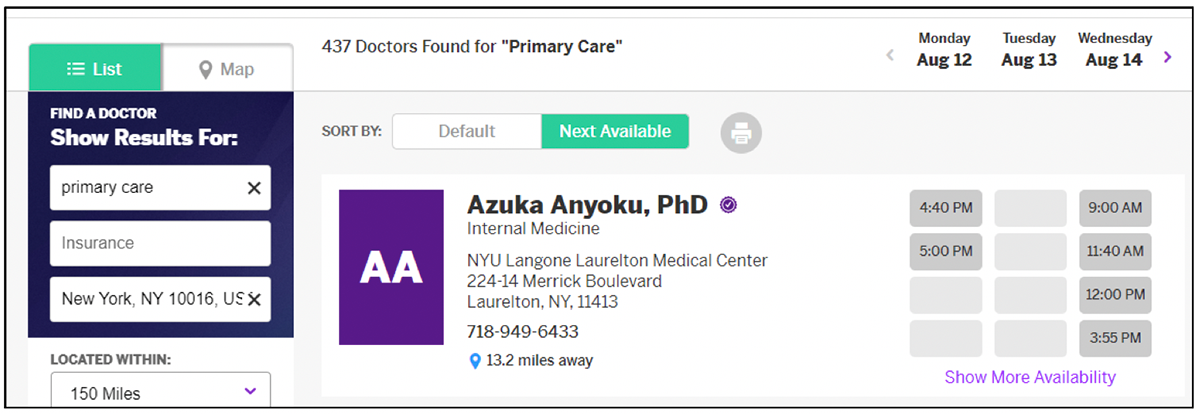 NYU Langone appointment scheduling capabilities