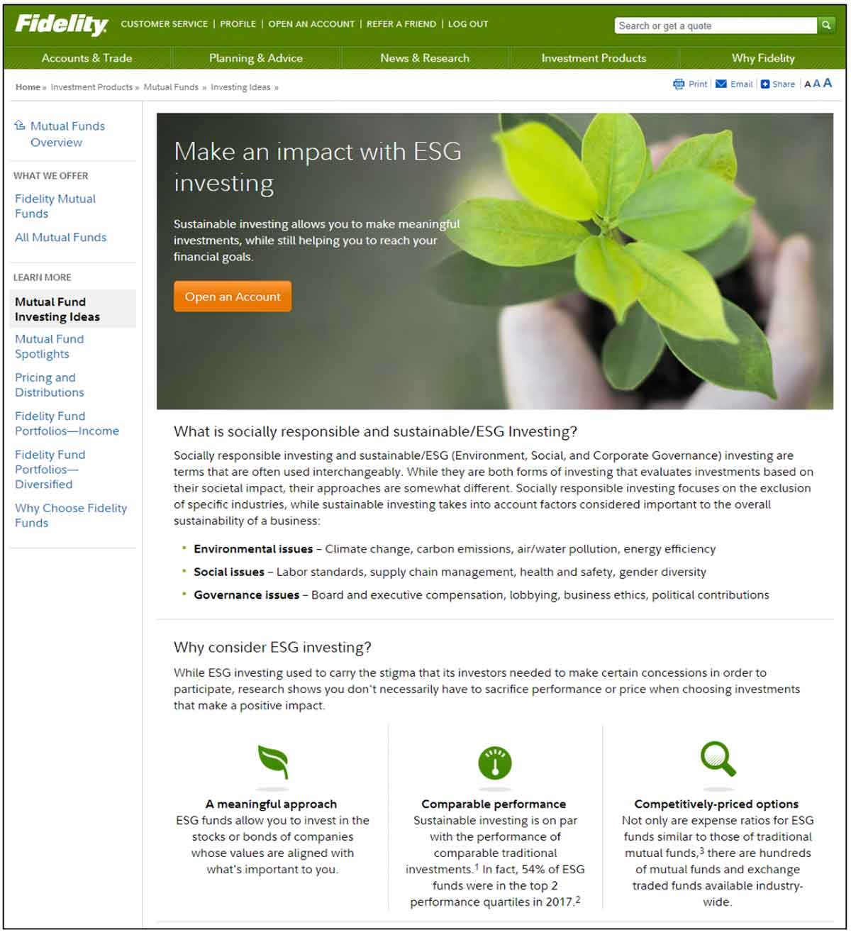 Fidelity manages to successfully promote ESG/SRI offerings from public site hub