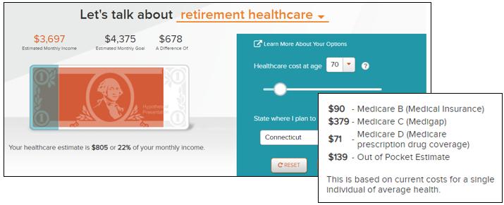 myOrangeMoney Tool – Retirement Healthcare View and Hover-Over