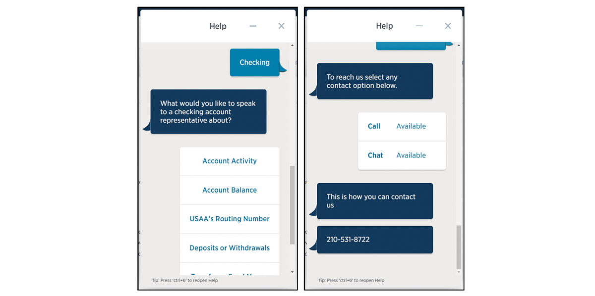 USAA virtual assistant interactive customer service experience
