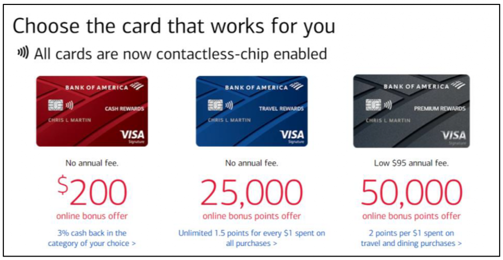 Bank of America Public Site Homepage Contactless Cards Promotion Contactless Payment Offerings