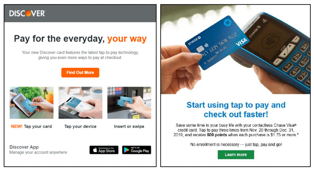 Discover and Chase Card Contactless Payment Offerings Promotional Emails
